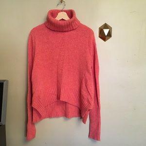 Anthropologie Fireside Turtleneck Sweater Coral S